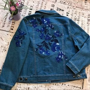 ❤️DENIM 24/7 Denim Biker Jacket Jean Coat Floral
